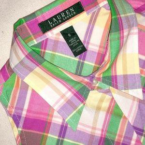 Ralph Lauren Preppy Plaid Sleeveless Button Up